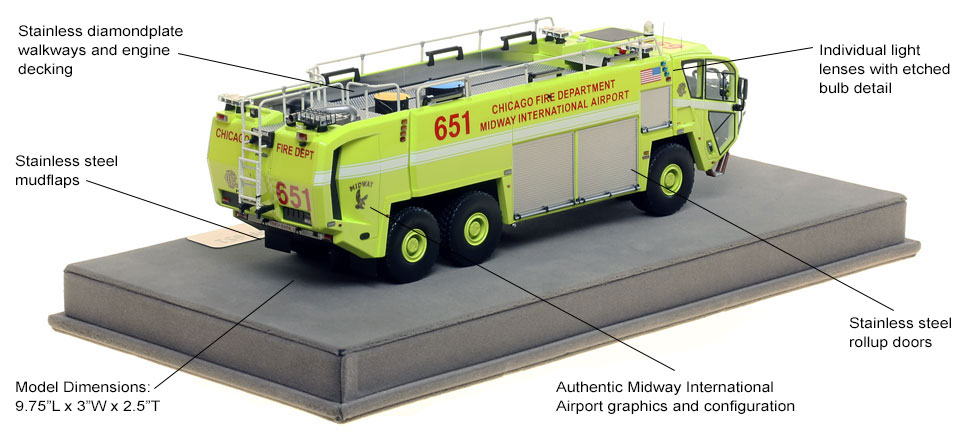 Specs and Features of Chicago Midway ARFF 651 scale model