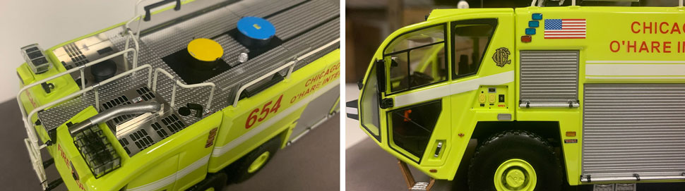 Close up images 5-6 of Chicago O'Hare ARFF 654 scale model