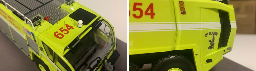 Close up images 7-8 of Chicago O'Hare ARFF 654 scale model