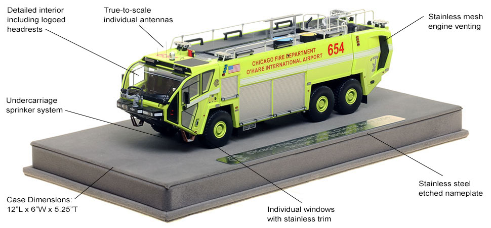 Features and Specs of Chicago O'Hare ARFF 654 scale model