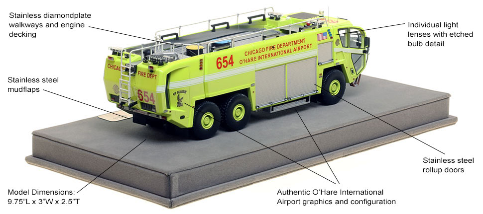 Specs and Features of Chicago O'Hare ARFF 654 scale model