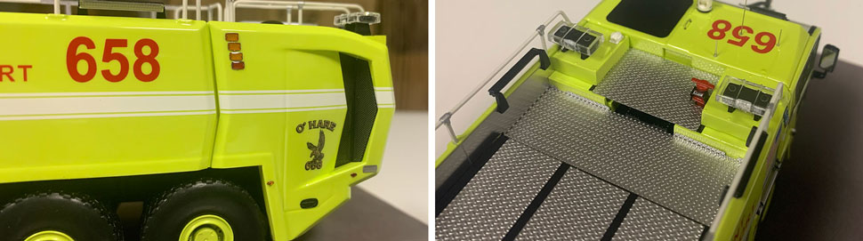 Close up images 5-6 of Chicago O'Hare ARFF 658 scale model