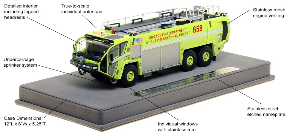 Features and Specs of Chicago O'Hare ARFF 658 scale model