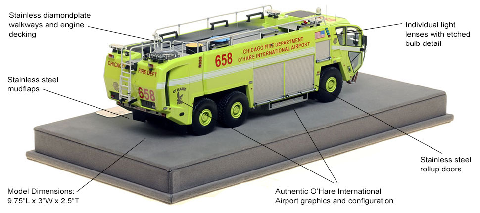 Specs and Features of Chicago O'Hare ARFF 658 scale model