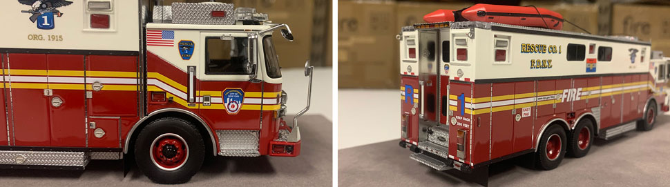 Closeup pictures 5-6 of the FDNY Rescue 1 scale model