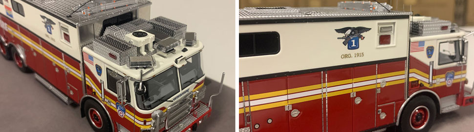 Closeup pictures 7-8 of the FDNY Rescue 1 scale model