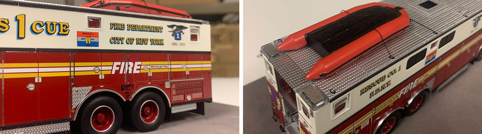 Closeup pictures 9-10 of the FDNY Rescue 1 scale model