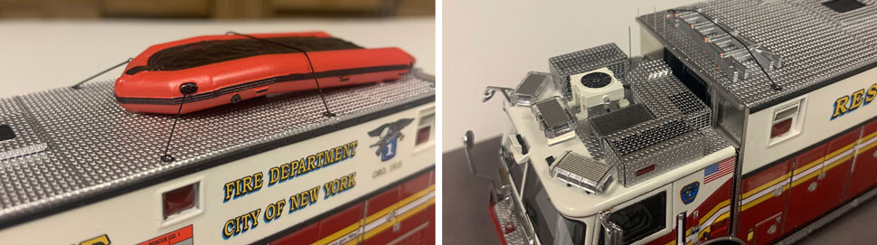 Closeup pictures 13-14 of the FDNY Rescue 1 scale model
