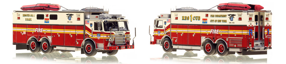 FDNY's Rescue 1 scale model is hand-crafted and intricately detailed.