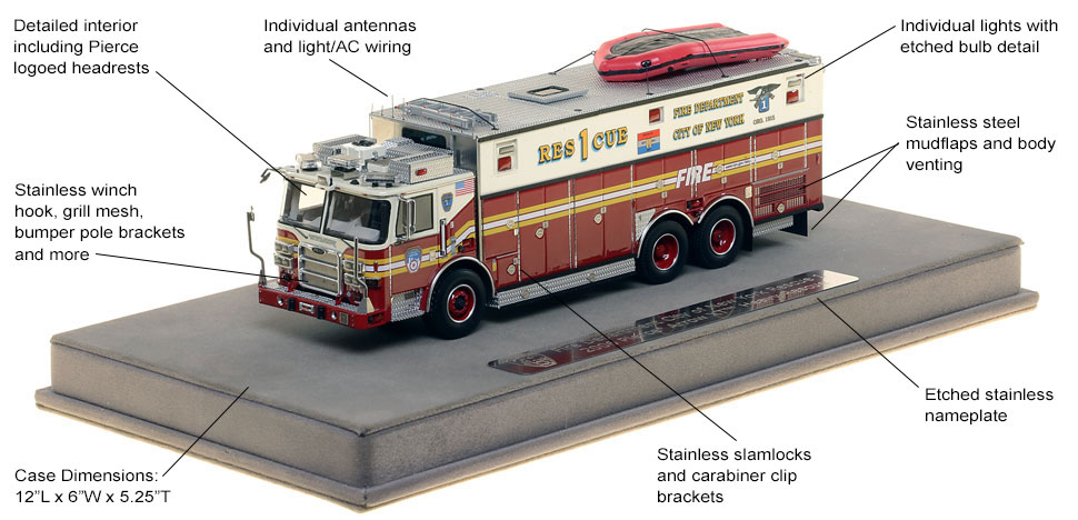 Features and Specs of FDNY's Pierce Arrow XT Rescue 1 scale model
