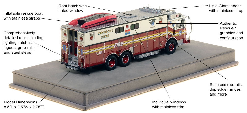 Specs and Features of FDNY Rescue 1 scale model