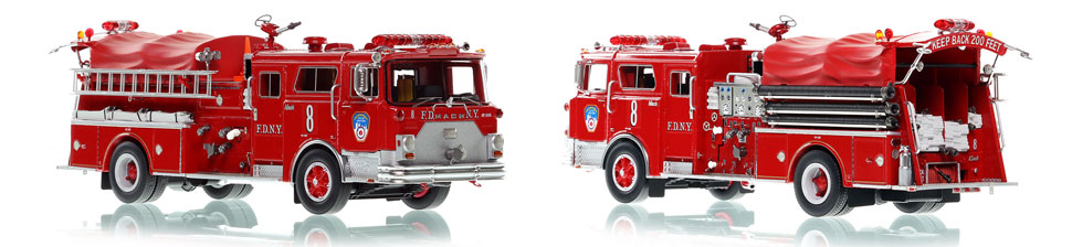 FDNY Engine 8 scale model is hand-crafted and intricately detailed.