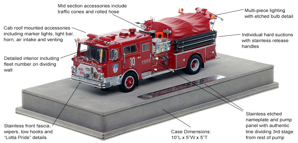 Features and Specs of FDNY's 1983 Mack CF Engine 10 scale model