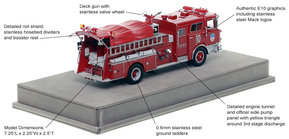Specs and Features of FDNY's 1983 Mack CF Engine 10 scale model