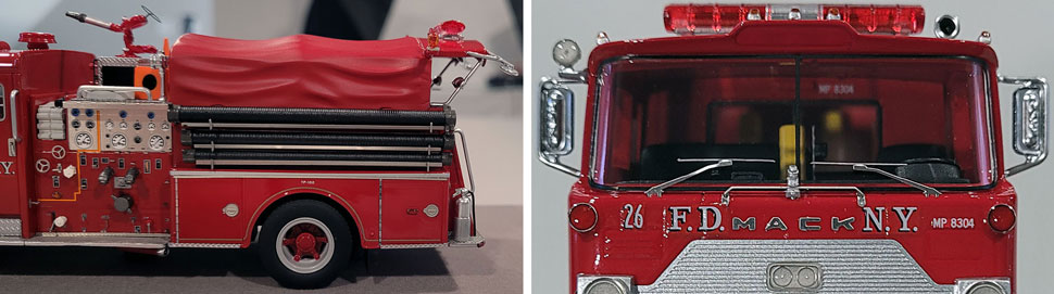 Close up images 11-12 of FDNY 1983 Mack CF Engine 26 scale model