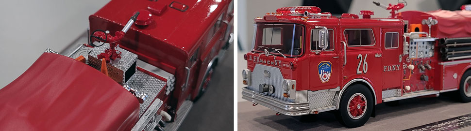 Close up images 7-8 of FDNY 1983 Mack CF Engine 26 scale modeles 5-6 of FDNY 1983 Mack CF Engine 26 scale model