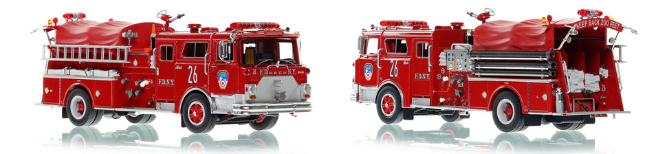 FDNY Engine 26 scale model is hand-crafted and intricately detailed.