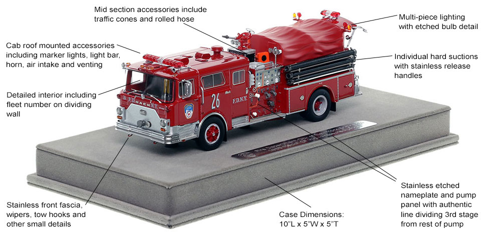 Features and Specs of FDNY's 1983 Mack CF Engine 26 scale model