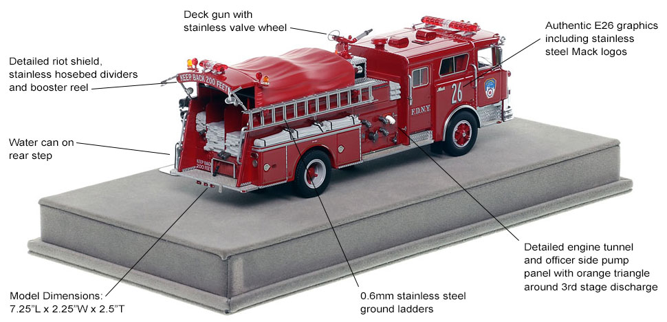Specs and Features of FDNY's 1983 Mack CF Engine 26 scale model