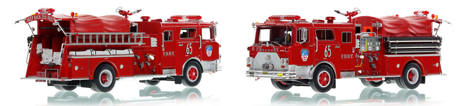 FDNY Engine 65 scale model is hand-crafted and intricately detailed.