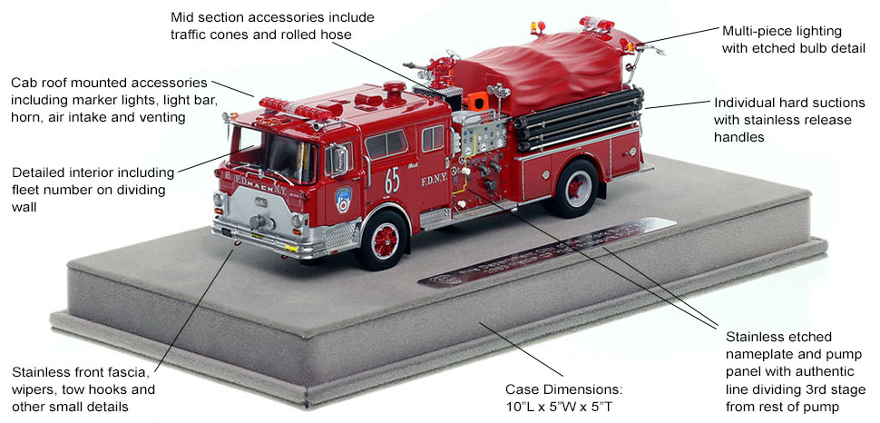 Features and Specs of FDNY's 1983 Mack CF Engine 65 scale model