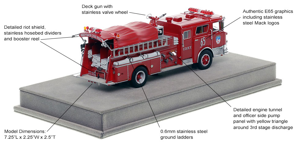 Specs and Features of FDNY's 1983 Mack CF Engine 65 scale model