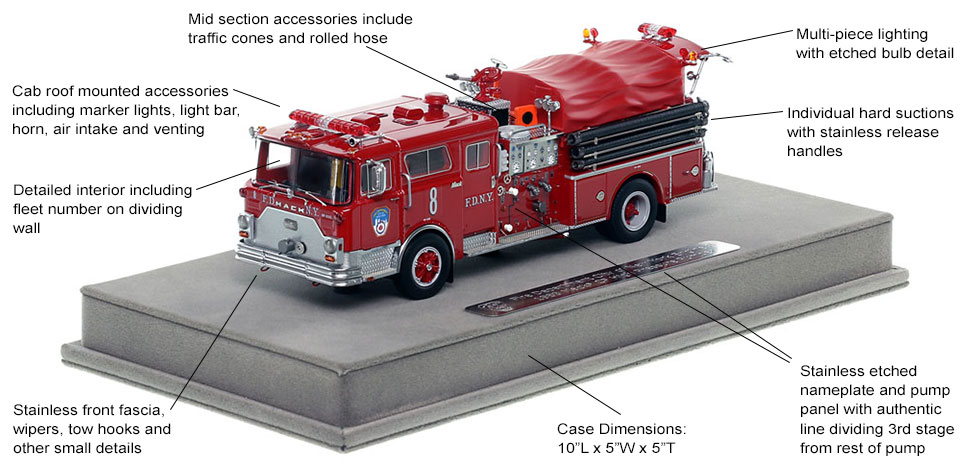 Features and Specs of FDNY's 1983 Mack CF Engine 8 scale model