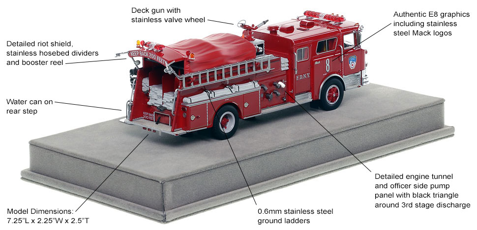 Specs and Features of FDNY's 1983 Mack CF Engine 8 scale model