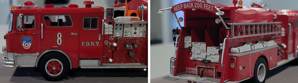 Close up images 7-8 of FDNY 1983 Mack CF Engine 8 scale model