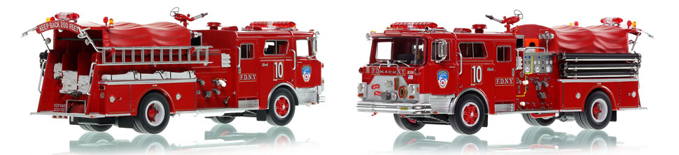 FDNY Engine 10 scale model is hand-crafted and intricately detailed.