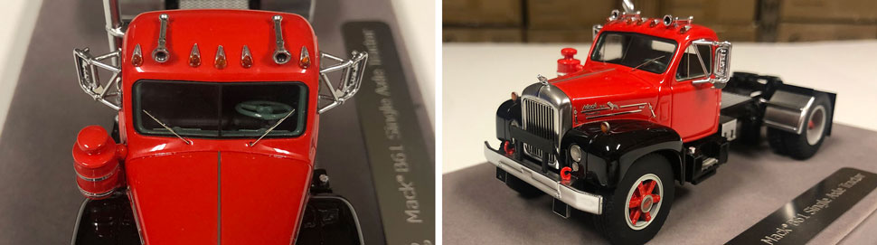 Closeup pictures 3-4 of the Mack B-61 scale model in red over black.