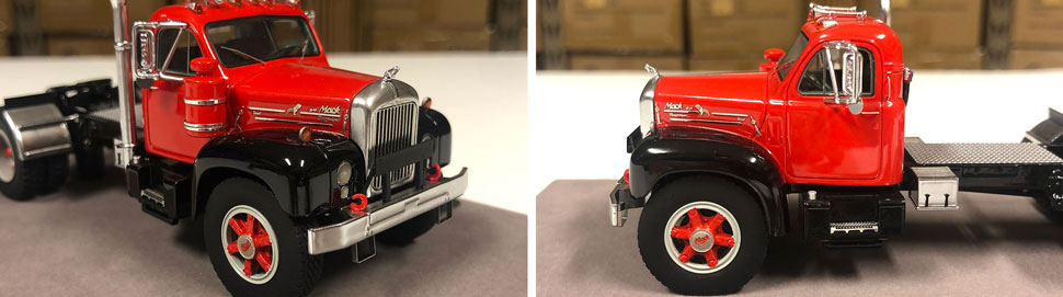 Closeup pictures 5-6 of the Mack B-61 scale model in red over black.