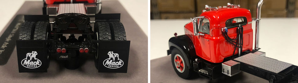 Closeup pictures 7-8 of the Mack B-61 scale model in red over black.