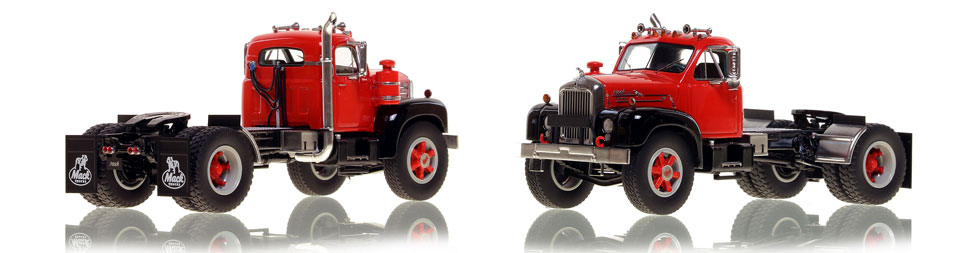 The first museum grade scale model of the Mack B-61 single axle tractor in red over black