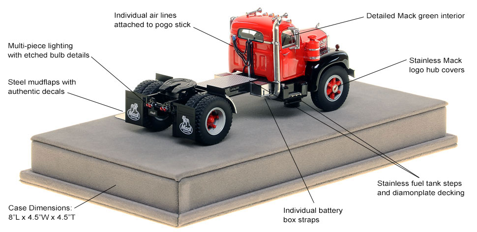Specs and Features of the Mack B-61 single axle tractor scale model