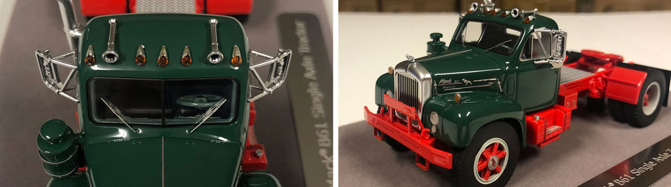 Closeup pictures 3-4 of the Mack B-61 scale model in green over red