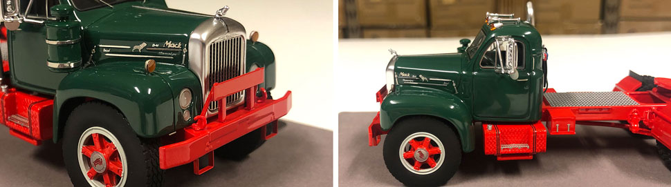 Closeup pictures 5-6 of the Mack B-61 scale model in green over red