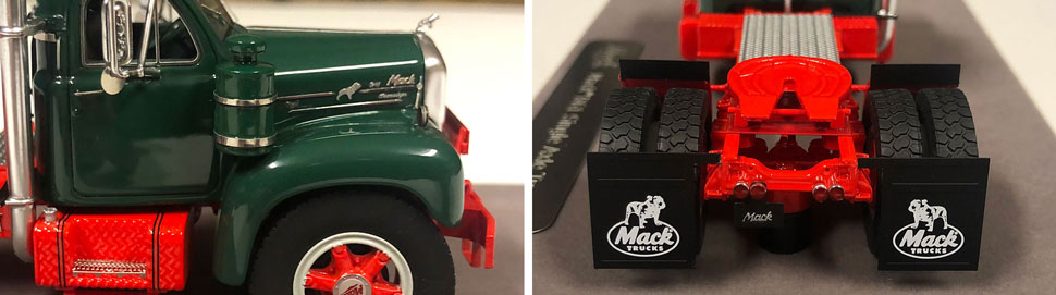 Closeup pictures 7-8 of the Mack B-61 scale model in green over red