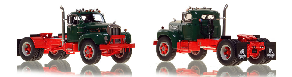 The first museum grade scale model of the Mack B-61 single axle tractor in green over red