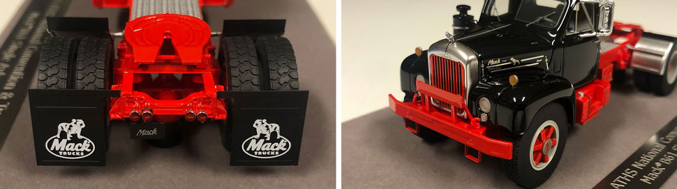 Closeup pictures 3-4 of the Mack B-61 scale model in black over red
