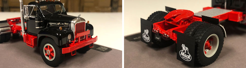 Closeup pictures 7-8 of the Mack B-61 scale model in black over red