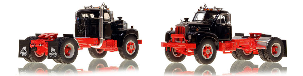 The first museum grade scale model of the Mack B-61 single axle tractor in black over red
