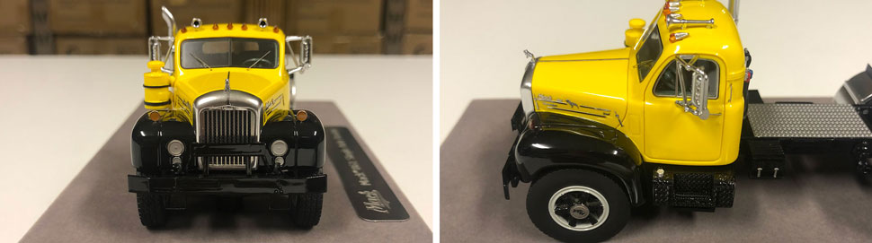 Closeup pictures 1-2 of the Mack B-61 scale model in yellow over black