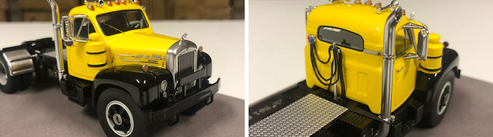 Closeup pictures 9-10 of the Mack B-61 scale model in yellow over black