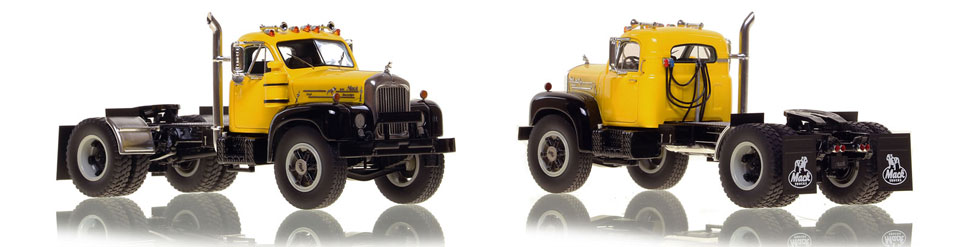 The first museum grade scale model of the Mack B-61 single axle tractor in yellow over black