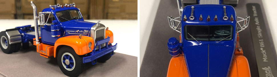 Closeup pictures 1-2 of the Mack B-61 scale model in blue and orange