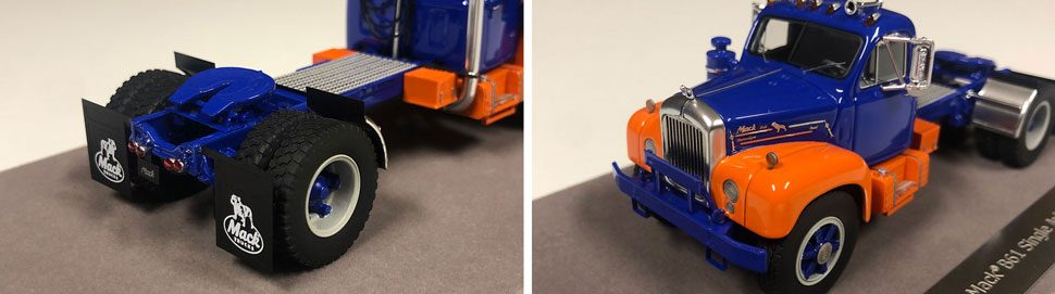 Closeup pictures 3-4 of the Mack B-61 scale model in blue and orange