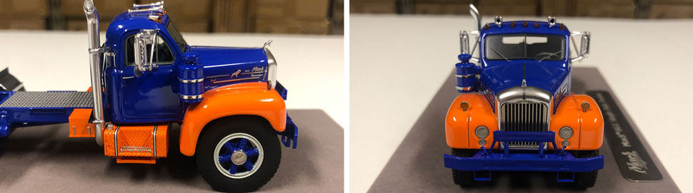 Closeup pictures 5-6 of the Mack B-61 scale model in blue and orange