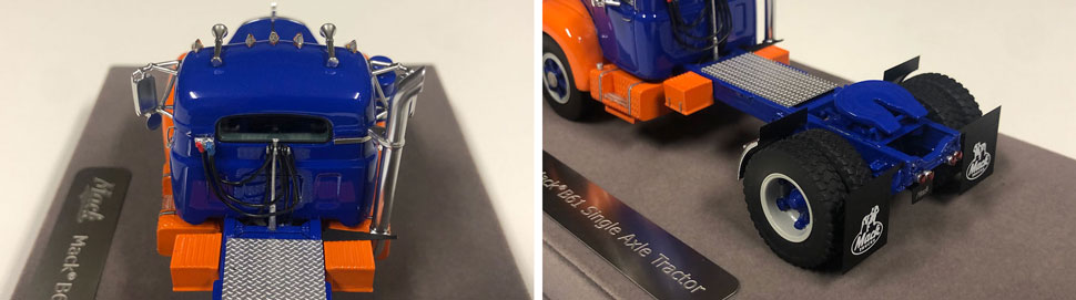 Closeup pictures 7-8 of the Mack B-61 scale model in blue and orange
