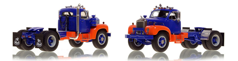 The first museum grade scale model of the Mack B-61 single axle tractor in blue and orange